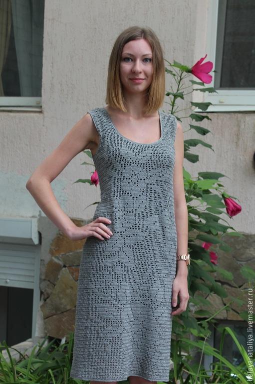 """Платья ручной работы. Ярмарка Мастеров - ручная работа. Купить Вязаное платье """"Тёмное серебро"""". Handmade. Серый, платье вязаное"""