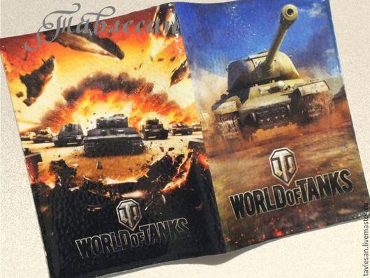 """Обложки ручной работы. Ярмарка Мастеров - ручная работа. Купить Обложка для паспорта """"Танки. World of Tanks""""  кожа. Handmade."""