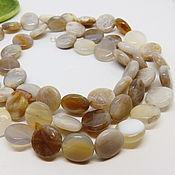 Работы для детей, handmade. Livemaster - original item Latte Beads for Ladies (agate, chalcedony) 88 cm. Handmade.