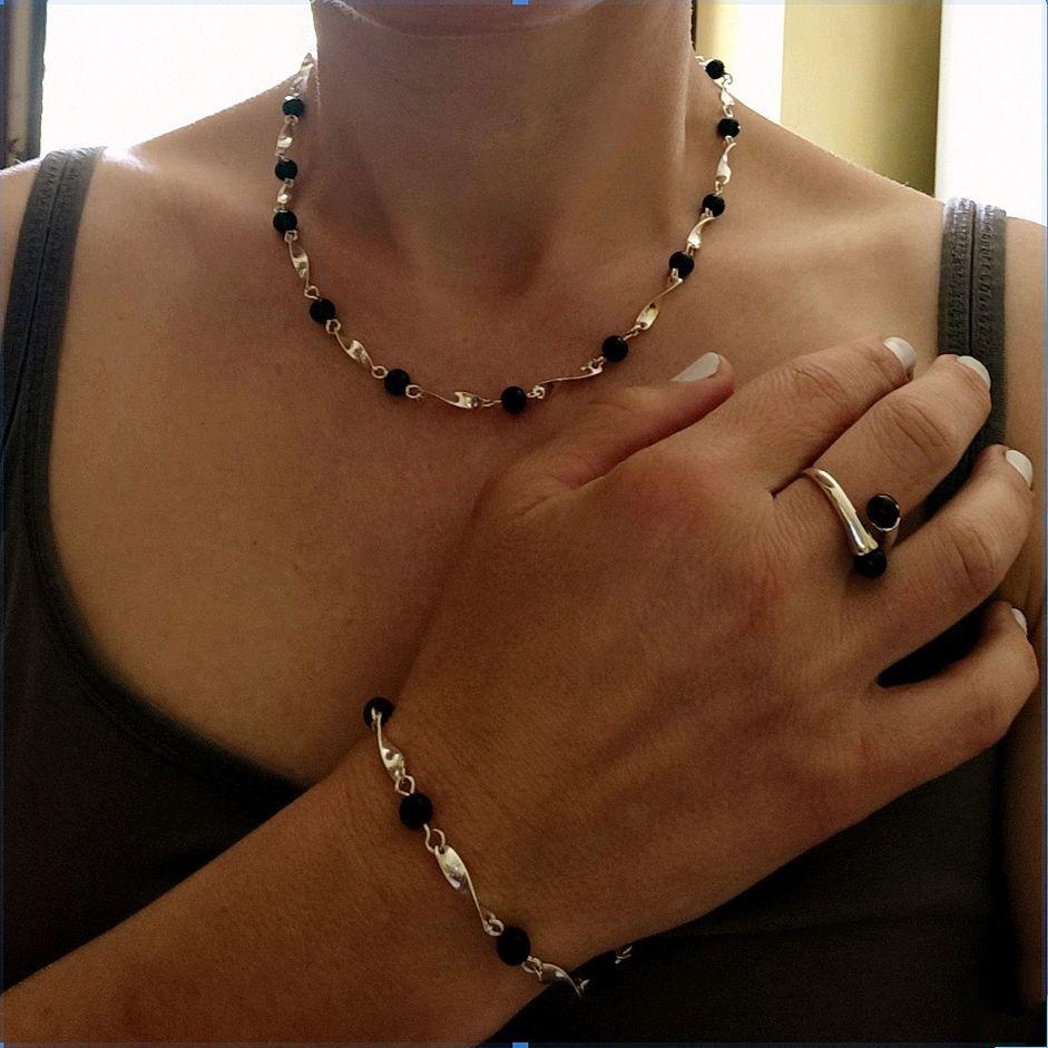 Bracelet and beads silver with black onyx, Bead bracelet, Turin,  Фото №1