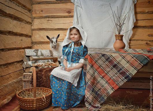 Одежда для девочек, ручной работы. Ярмарка Мастеров - ручная работа. Купить Платье для фотосессии. Handmade. Синий, лён натуральный