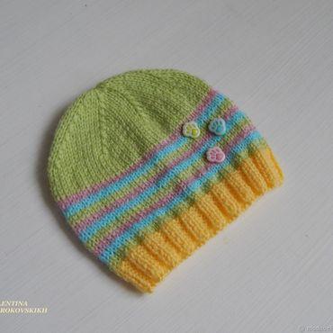 Работы для детей, ручной работы. Ярмарка Мастеров - ручная работа Вязаная шапочка для малыша 0-3 месяца. Handmade.