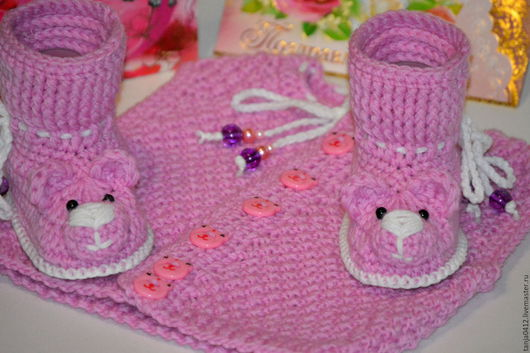 Для новорожденных, ручной работы. Ярмарка Мастеров - ручная работа. Купить Вязаные пинетки Мишки (обувь, сапожки, для детей, розовые, сапоги). Handmade.