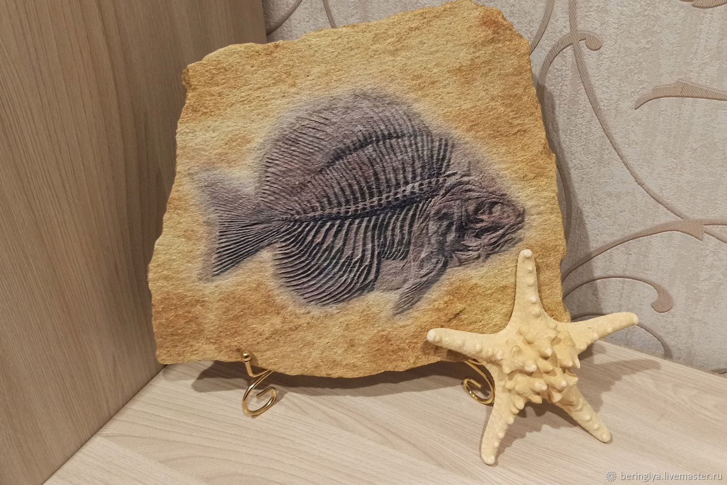 Zlatolit with the image of 'Fish of the ancient sea' on the stand, Stones, Izhevsk,  Фото №1