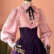 Одежда handmade. Livemaster - original item Victorian Pink  Penny Blouse Shirt. Handmade.