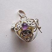 Украшения handmade. Livemaster - original item pendant Bola bell heart with amethyst. Handmade.