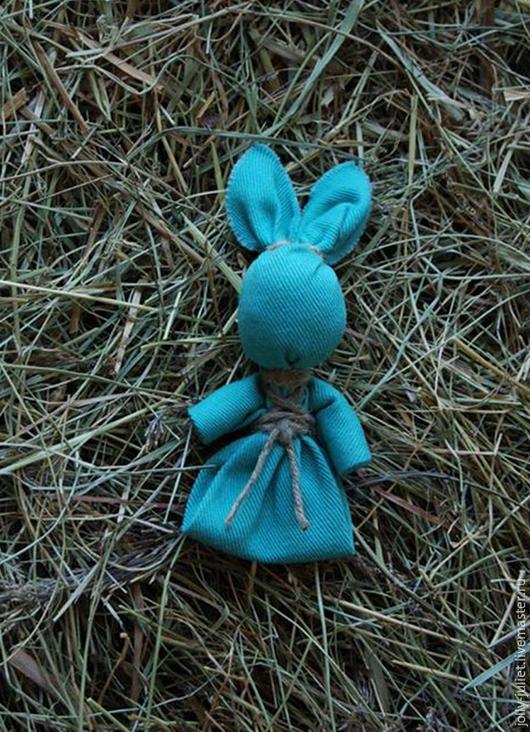 Народные куклы ручной работы. Ярмарка Мастеров - ручная работа. Купить Bunny. Handmade. Игрушка, заяц, бирюзовый джинс, джинс