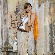 Одежда ручной работы. Ярмарка Мастеров - ручная работа Юбка Лето бежевого цвета. Handmade.