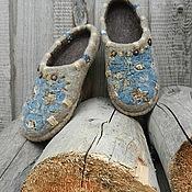 """Обувь ручной работы. Ярмарка Мастеров - ручная работа Тапки валяные домашние """"Северное лето"""". Handmade."""