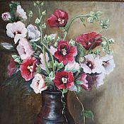 Картины и панно handmade. Livemaster - original item Oil painting still life of Hollyhocks with raspberries rustic. Handmade.