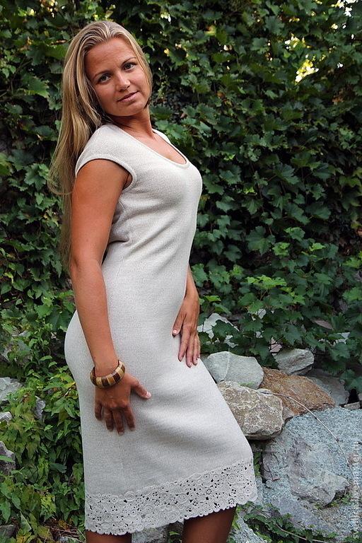 Платья ручной работы. Ярмарка Мастеров - ручная работа. Купить Платье-туника светло-серый меланж. Handmade. Вязаное платье