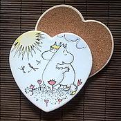 """Тарелки ручной работы. Ярмарка Мастеров - ручная работа Подставки (coaster cork) """"Moomin Любовь"""". Handmade."""