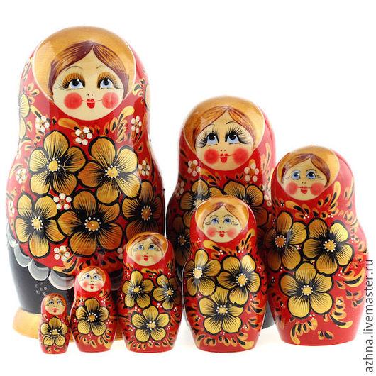 Матрешки ручной работы. Ярмарка Мастеров - ручная работа. Купить Матрешка 7 мест красно-черная золотые цветы. Handmade.