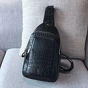 Сумки и аксессуары handmade. Livemaster - original item Men`s shoulder bag made of crocodile skin, in black. Handmade.