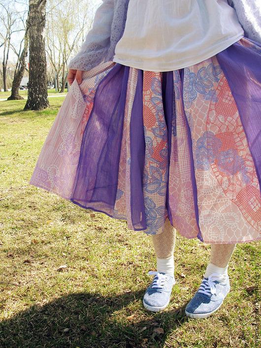 Юбки ручной работы. Ярмарка Мастеров - ручная работа. Купить юбка Веер. Handmade. Сиреневый, хлопок 100%