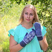 Аксессуары handmade. Livemaster - original item Mittens: Woolen mittens with an ornament for women. Handmade.