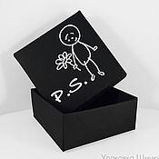 Коробки ручной работы. Ярмарка Мастеров - ручная работа 100 коробок 7х7х3 см с тиснением логотипа. Handmade.