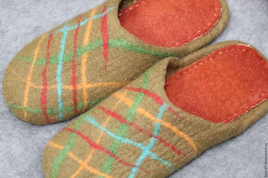 Обувь ручной работы. Ярмарка Мастеров - ручная работа. Купить тапочки Мужские. Handmade. Комбинированный, валяные тапочки, валяная обувь