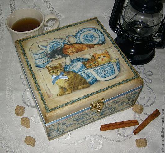 """Кухня ручной работы. Ярмарка Мастеров - ручная работа. Купить шкатулка для чая """"Котята"""". Handmade. Бежевый, кухонный интерьер"""