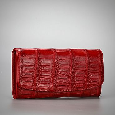 Bags and accessories handmade. Livemaster - original item Red crocodile belly leather wallet. Handmade.