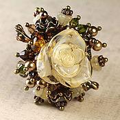 Украшения ручной работы. Ярмарка Мастеров - ручная работа Коктейльное кольцо букет  в винтажном стиле Роза Айвори. Handmade.