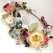 Украшения handmade. Livemaster - original item Solar Ivy. wreath. Handmade flowers from fabric. Handmade.
