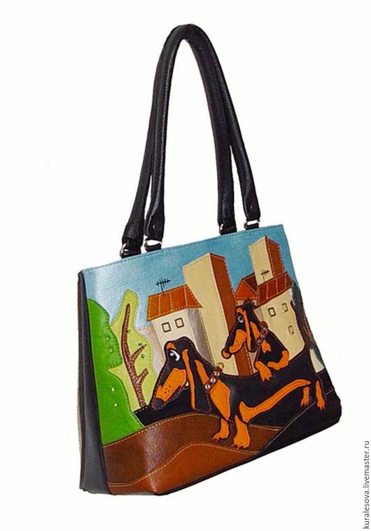 """Женские сумки ручной работы. Ярмарка Мастеров - ручная работа. Купить Кожаная сумка """"Таксята"""". Handmade. Черный, handbag"""