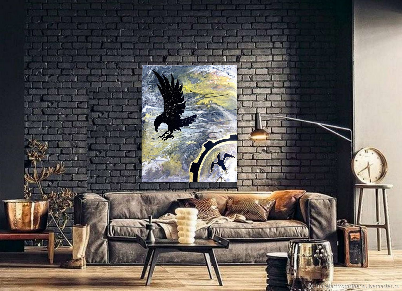Картина акрилом на заказ Ворон и шаманский бубен, птица, тотем, Сувениры, Сочи,  Фото №1