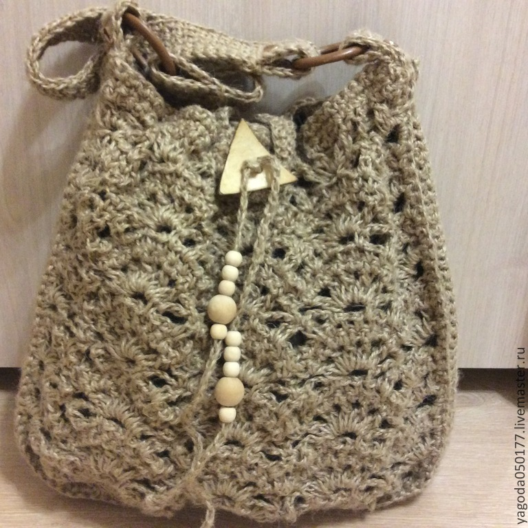 Bag -bag knitted from jute, Bucketbag, Kaluga,  Фото №1