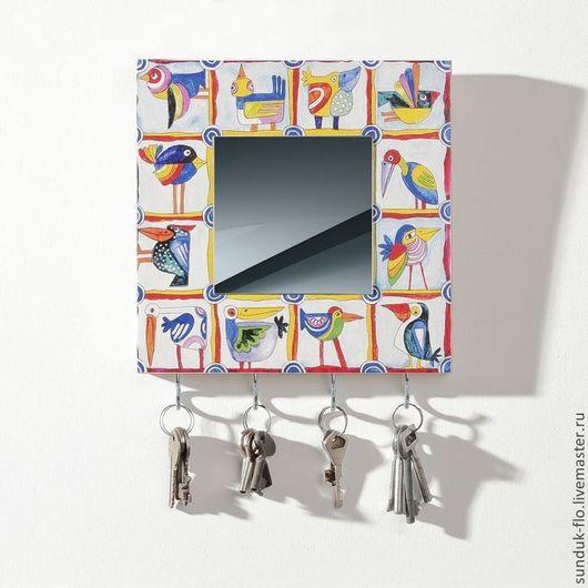 Прихожая ручной работы. Ярмарка Мастеров - ручная работа. Купить Настенная ключница с зеркалом Разноцветные птицы. Handmade. Разноцветный