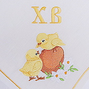 Подарки к праздникам handmade. Livemaster - original item Easter Napkin with Embroidered Chickens. Handmade.
