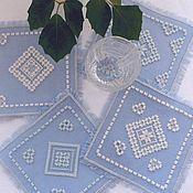 Для дома и интерьера handmade. Livemaster - original item Napkins-coasters with embroidery. Table setting. Cozy kitchen. Handmade.