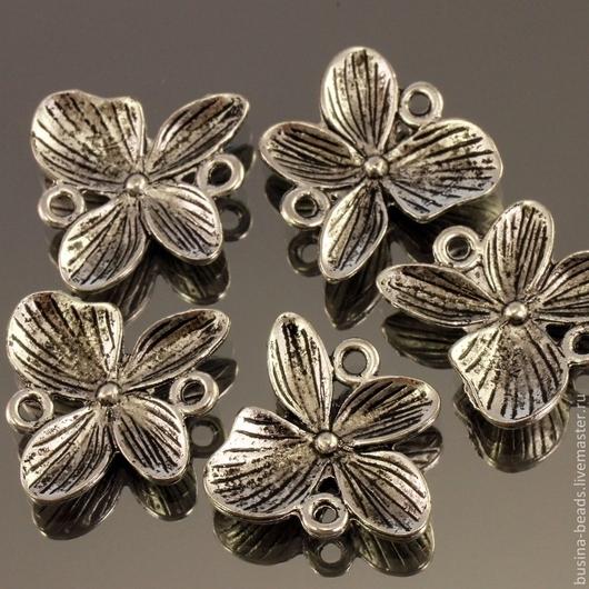 Подвеска Орхидея из металлического сплава с покрытием античное серебро для использования в сборке украшений в качестве коннектора по 5 штук