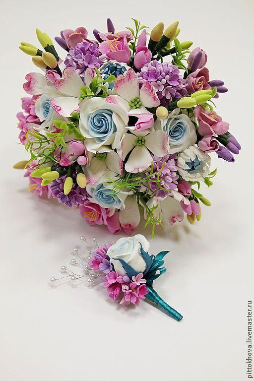 Свадебные цветы ручной работы. Ярмарка Мастеров - ручная работа. Купить Свадебный букет из полимерной глины. Handmade. сирень