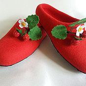 Обувь ручной работы. Ярмарка Мастеров - ручная работа тапочки Клубничка. Handmade.