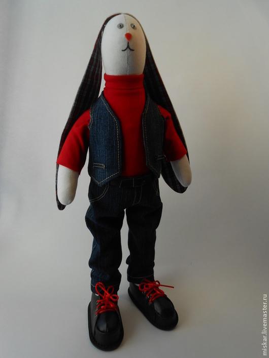 Куклы Тильды ручной работы. Ярмарка Мастеров - ручная работа. Купить Зайка-джинсик. Handmade. Тёмно-синий, интересный подарок