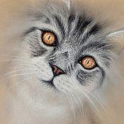 Картины и панно ручной работы. Ярмарка Мастеров - ручная работа Янтарные глаза, картина пастелью. Handmade.