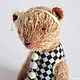 Мишки Тедди ручной работы. Ярмарка Мастеров - ручная работа. Купить Медвежонок цирковой. Handmade. Коричневый, мишка, мохер. Клетчатый Крокдил.