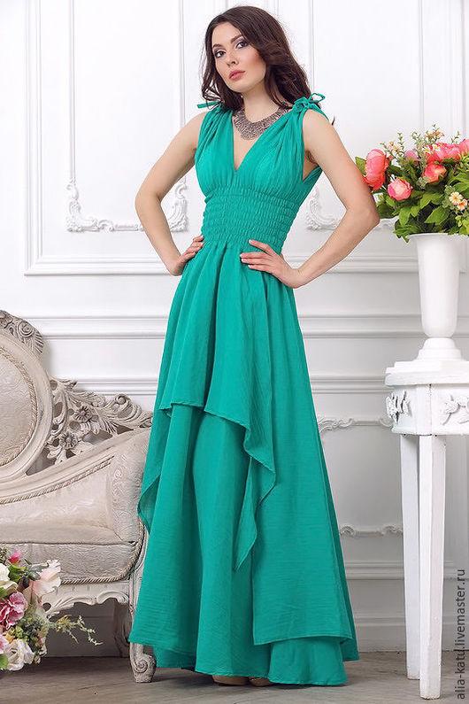 """Платья ручной работы. Ярмарка Мастеров - ручная работа. Купить Платье """"Афина-2"""". Handmade. Ярко-зелёный, длинное платье"""