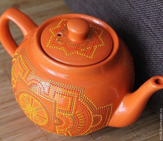 заварочный чайник заварной подарок  на 8 марта для хозяйки на кухню яркий чайник оранжевый чайник заварной для чаепития кухонная посуда для кухни посуда керамика  креативный чайник