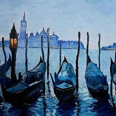 Картины и панно ручной работы. Ярмарка Мастеров - ручная работа Большая Картина маслом  огни ночной Венеции город  пейзаж синий. Handmade.