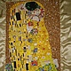 вышивка бисером на заказ заказная вышивка картины, вышивка репродукции картины, Густав Климт, вышивка бисером  картины по мотивам Густава Климта, ручная работа, ручная вышивка бисером, картина Поцелуй