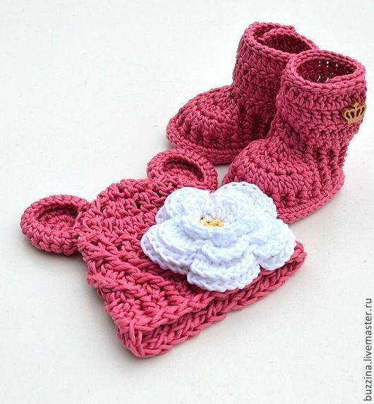 Для новорожденных, ручной работы. Ярмарка Мастеров - ручная работа. Купить Комплект на выписку для новорожденной шапка Мишка + пинетки угги роз. Handmade.
