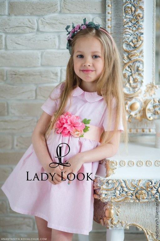 Одежда для девочек, ручной работы. Ярмарка Мастеров - ручная работа. Купить Платье для девочки розовая клеточка. Handmade. Платье для девочки