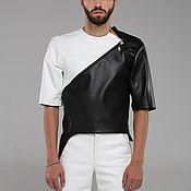 Мужская одежда handmade. Livemaster - original item White Black Leather Man Jacket. Handmade.