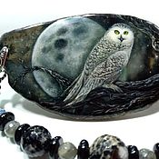 Necklace handmade. Livemaster - original item The snowy owl is a large necklace with lacquer miniature on the cut agate. Handmade.
