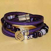 Украшения ручной работы. Ярмарка Мастеров - ручная работа Кожаный браслет из кожи фиолетовой 5мм с агатом. Handmade.