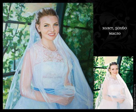 """Люди, ручной работы. Ярмарка Мастеров - ручная работа. Купить """"Портрет невесты"""". Handmade. Портрет на заказ, портрет по фото, холст"""