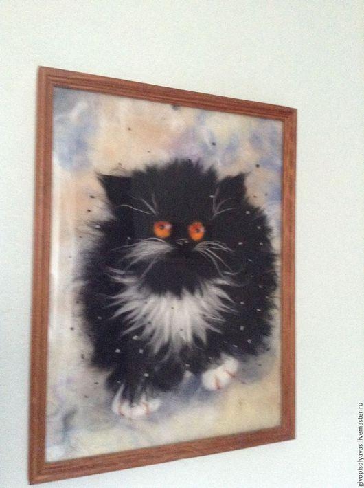 Животные ручной работы. Ярмарка Мастеров - ручная работа. Купить Сурьезный кот.. Handmade. Чёрно-белый, кошка, панно