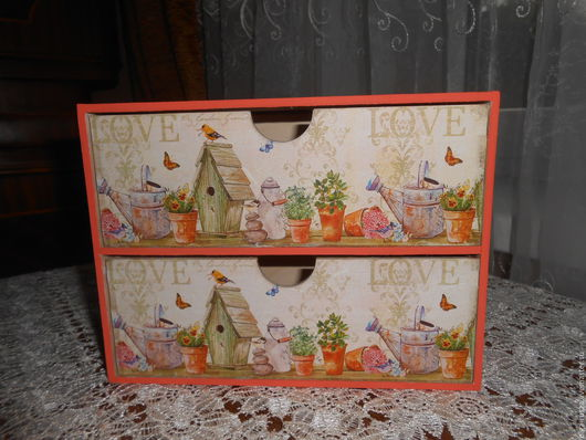 """Мини-комоды ручной работы. Ярмарка Мастеров - ручная работа. Купить Мини-комод """"Мой уютный дом"""". Handmade. Оранжевый"""